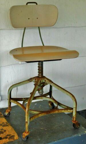 Vintage MCM Toledo Metal Furniture Company Adjustable Drafting Chair
