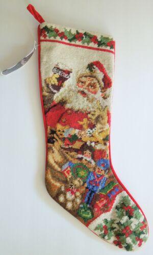 NWT~ Vintage 1997 COCA-COLA Needlepoint Christmas Stocking~Santa~Toys~Holly