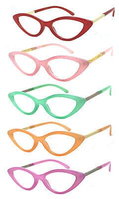 Retro Cat Eye Jelly Color Frame Full Lens (NOT Bifocal) Reading Glasses (Eye Color Lens)