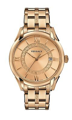 Versace Mens V10090015 Apollo Rose Gold Greek Key Date Roman Numbers Wristwatch