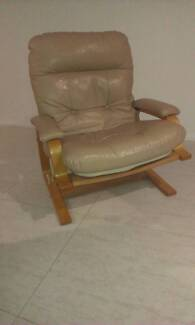 lounge chair rocker leather timber
