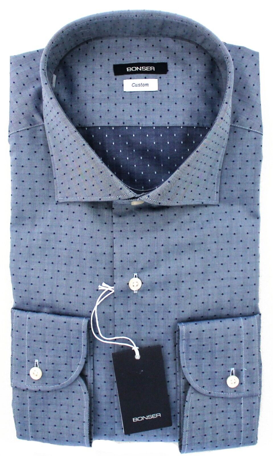 CAMICIA UOMO BONSER CUSTOM FIT CLASSICA BLU A POIS PUNTINI SCURI COLLO FRANCESE