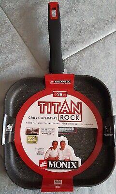 Grill con rayas Monix Titan Rock 28cm Aluminio Forjado Espesor Base 4mm