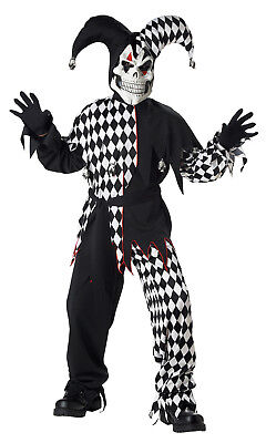 Scary  Evil Jester Renaissance Circus Clown Child Costume - Evil Jester Kids Costume