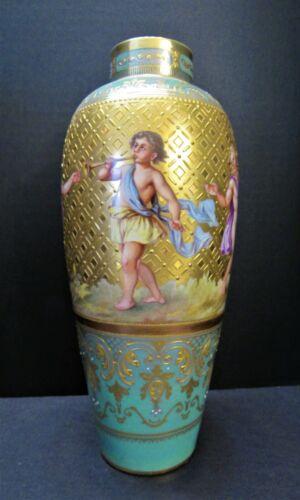 Large Exquisite Antique 1890s Royal Vienna Vase Mint Green w/ Brilliant Gold