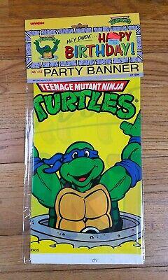 Tmnt Birthday Banner (NOS Teenage Mutant Ninja Turtles 45x12 Birthday Party Banner 90s Leonardo)