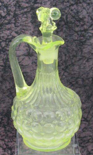Antique EAPG Adams & Co. One Thousand Eye Pattern Canary Vaseline Glass Cruet