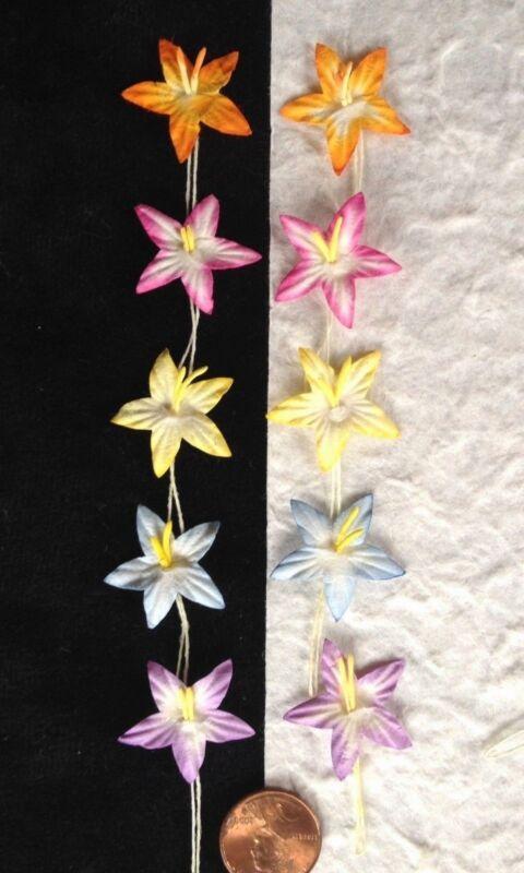 25 Star flowers starflower Assortment Handmade mulberry paper tropical Easter