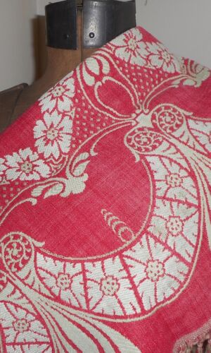 Antique 19th Turkey Red Floral Swag Linen Cotton Damask Jacquard Woven Fabric #1