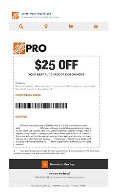 One 1x Home Depot $25 off $200Coupon In-Store Only--fast-