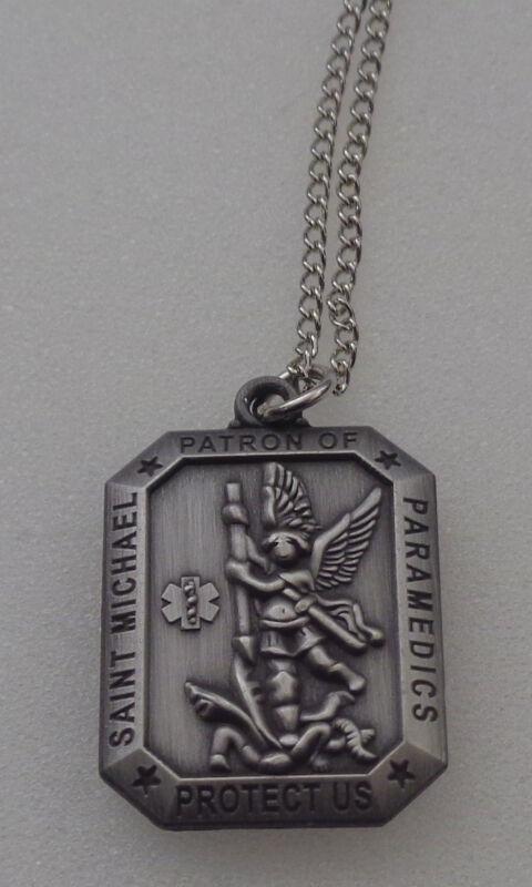 Saint (St.) Michael Patron of PARAMEDICS Protect Us Necklace/Pendant Nickel