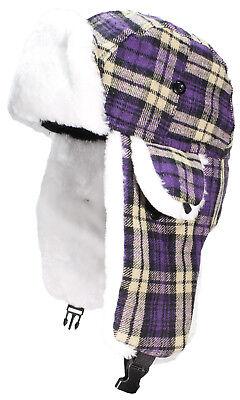 BWH Big Kids Quality Tartan Plaid Russian/Trapper Hat W/Faux Fur #189 Purple](Kids Russian Hats)