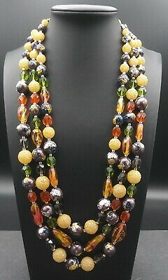 60s -70s Jewelry – Necklaces, Earrings, Rings, Bracelets Vintage Multi Colored Necklace 1950's 1960's $29.99 AT vintagedancer.com
