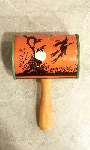 Vintage T COHN Halloween Tin Litho Barrel Black Cat Owl Haunted House Noisemaker
