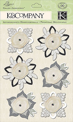 Wedding Elegance Flowers Fab 3d Scrapbook Stickers Grand Adhesions K&company