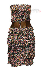 WOMENS LADIES FLOWER PRINT BELT DRESS BOOBTUBE SUMMER STRAPLESS DRESSES TOPS HOT
