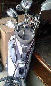 Women golf clubs and cart