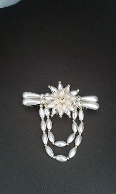 Haarspange / Haar Schmuck mit Mode Perlen gerade + Blume Creme/Gold   NEU