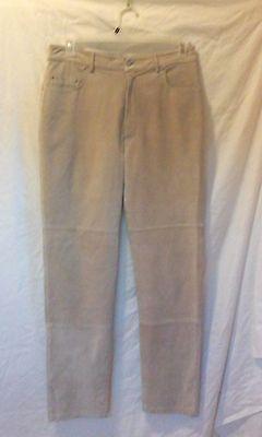 AR BERNARDO FASHIONS Suede Pants Genuine Leather Beige Lined Pants Size 10