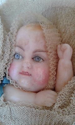 Antique Wax Baby in Bunting Candy Container with Squeaker