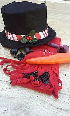 Felt Snowman Making Kit Felt Hat, Snowflake Scarf, Carrot, Pipe, New! Christmas! - Snowman Kit