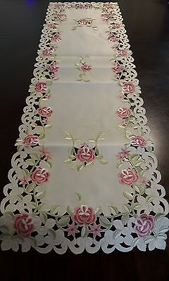 Embroidered Tablecloth Pink Floral Table Runner 15