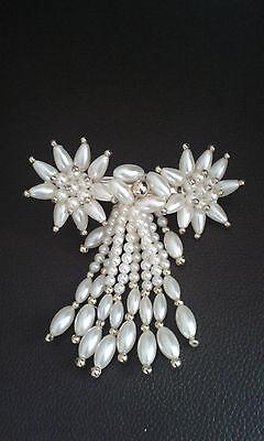 Haarspange / Haar Schmuck mit hübschen Mode Perlen 2 Blumen Creme/Gold   NEU
