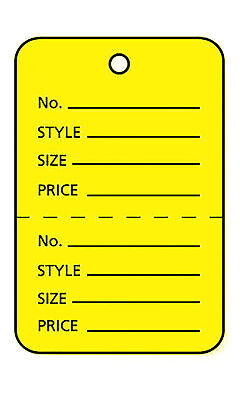 Perforated Tags Price 1000 Sale 1 X 1 Two Part Yellow Unstrung Tag Small