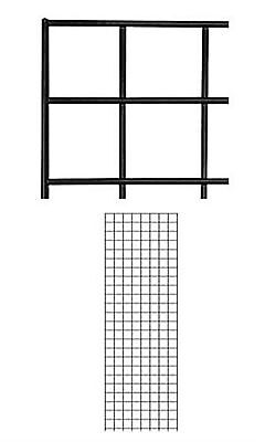 Set Of 2 Gridwall Panels 2 X 6 Grid Wall Display Black Panel Steel Powder Coat