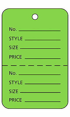 2000 Perforated Tags Price Sale 1 X 2 Two Part Light Green Coupon Unstrung
