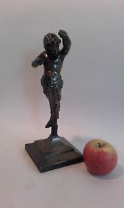 Antique French 19thc Bronze Cherub / Pan figure on stand