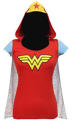 Wonder Woman Halloween Shirt (SEXY HALLOWEEN COSPLAY WONDER WOMAN T-SHIRT W CAPE & HOOD COSTUME JUNIOR)