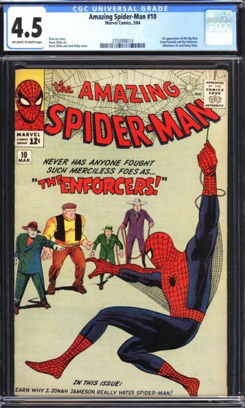 Amazing Spider-Man 10 CGC 4.5 VG+ 1964 First Enforcers- Kirby & Ditko Art