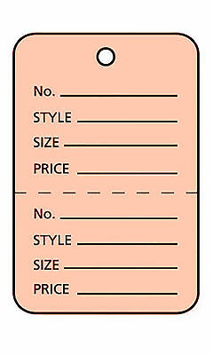 2000 Perforated Tags Price Sale 1 X 1 Two Part Pink Unstrung Tag Peach