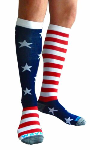 WAVE+USA+STARS+%26+STRIPES+COMPRESSION+SOCKS+-+large%2C+UK+shoe+size+6-12%2C+NEW