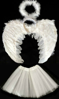 WHITE ANGEL WINGS, HALO AND TUTU SET HALLOWEEN COSTUME FANCY DRESS (Angel Wings And Halo Set)