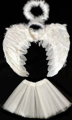 WHITE ANGEL WINGS, HALO AND TUTU SET HALLOWEEN COSTUME FANCY DRESS](Halloween Angel Wings And Halo)