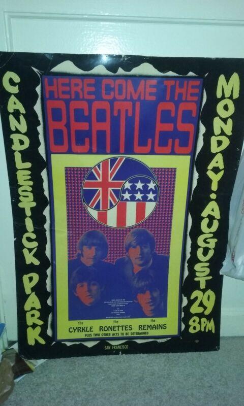 Vintage 1966 Beatles concert poster of Candlestick Park