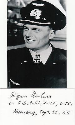 German Knights Cross Jurgen Oesten U-BOAT COMMANDER ACE signed 3x5 CARD