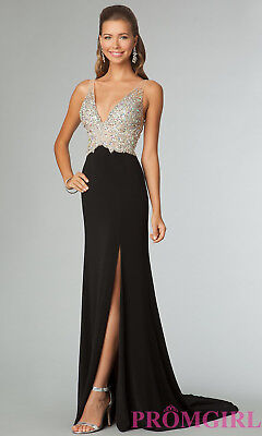 Designer ~ Black Jersey Jeweled V-Bodice High Slit Formal Train Gown 10 NEW $398