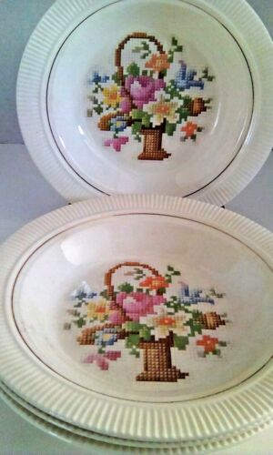 SALEM CHINA CO.CROSS-STITCH BASKET P. P. BOWLS Set of 4 VINTAGE