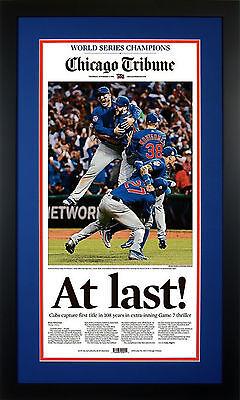 At Last  Framed Chicago Tribune   Cubs World Series Edition  Nov  3  Brand New