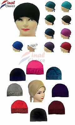 Women Ladies Under Scarf Hijab Tube Bone plain glitter Bonnet Cap  Stretchable