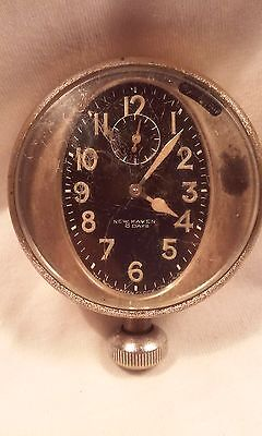 VINTAGE NEW HAVEN 8 DAY BRASS CAR DASH CLOCK - EARLY 20TH CENTURY
