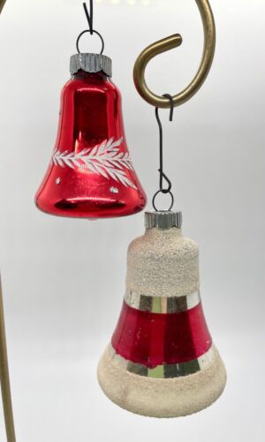 Vintage Shiny Bright Christmas Ornament 2 Bells Red & White