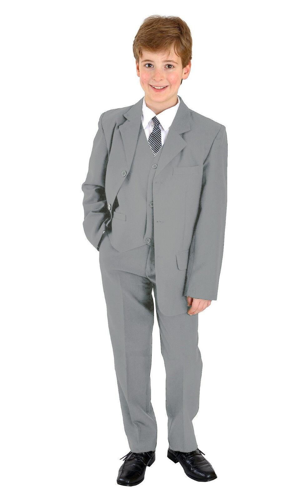 5 teiliger Jungenanzug Kinderanzug Kommunionsanzug Anzug Taufanzug uni hellgrau