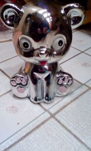 """Teddy Bear Coin Bank, Ceramic Mirrored, Silver, Shiny, 5.5""""; from Japan"""