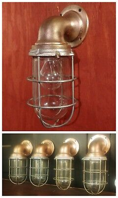 (Vintage Bronze Explosion Proof Cage Light REWIRED Nautical Marine Wall Mount)