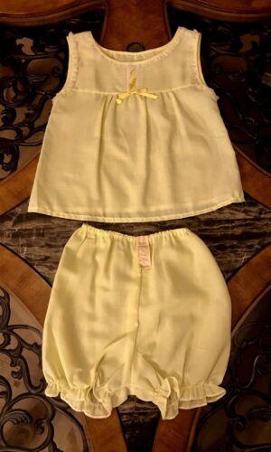 Vintage Girls Pajama Short Sleep Set Yellow Polyester Bloomers 1970s Sz 7 / 8