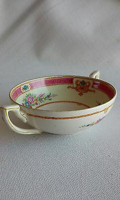 "Vintage Myott Pink Rose Staffordshire England Cream Soup Bowl 5"" Double Handle"